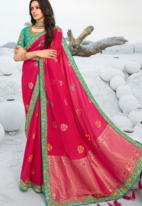 Dark Pink Silk Embroidered Saree - 13312
