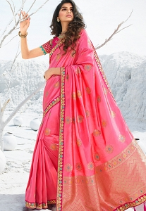 Baby Pink Silk Embroidered Saree - 13319