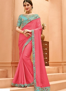 Pink & Blue Crepe Silk Lace Border Saree - 13370