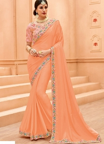 Peach & Pink Crepe Silk Lace Border Saree - 13375