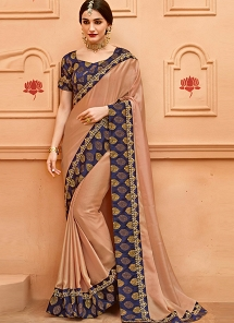 Peach & Blue Crepe Silk Lace Border Saree - 13382