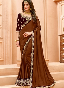 Brown Shade Crepe Silk Patch Lace Border work Saree - 13501