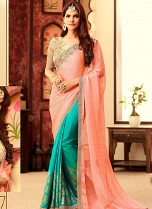 Delightful Pink Silk & Chiffon Party Wear Half N half Saree
