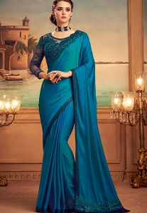 Blue Silk Embroidered Party wear Saree - 15012