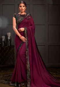 Wine Silk Georgette Sequins Designer Saree - 21211