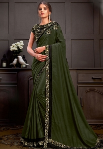 Olive Green Silk Georgette Sequins Embroidered Saree - 21212