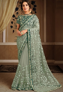 Teal Green Net Silk Embroidered Saree - 21305
