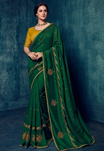 Green & Yellow Art Silk Party Wear Saree - 2172