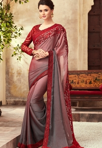 Maroon & Grey Satin Georgette Party Wear Saree With Border - 22001