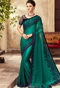 Rama Green Satin Georgette Party Wear Saree With Border - 22004