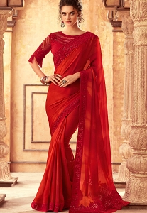 Bright Red Art Silk Bordered Saree - 24001