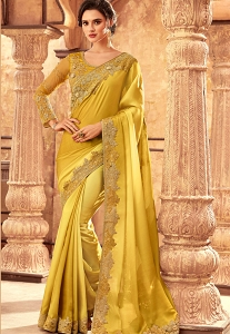 Shine Yellow Art Silk Bordered Saree - 24002