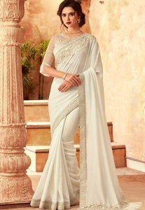White Art Silk Embroidered Bordered Saree - 24012