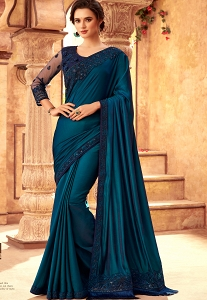 Blue Art Silk Bordered Saree - 24018