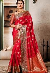 Crimson Red Art Silk Traditional Saree - 2601