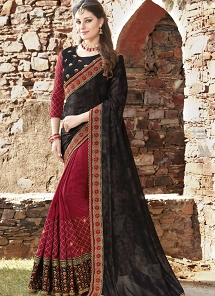 Maroon & Black Embroidered Fancy Fabric Half N Half Saree - 30019