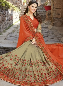 Impeccable Resham Work Fancy Fabric Half N Half Designer Saree - 30025