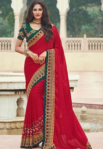 Red & Green Silk Embroidered Saree - 3632