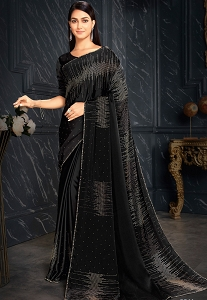 Black Sequins Embroidered Party Wear Saree - 3611