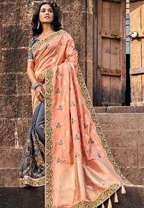 Grey & Peach Silk Embroidered Saree - 3804