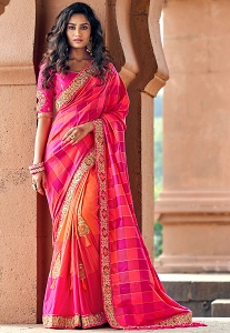 Pink Silk Embroidered Saree - 3809