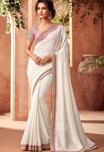 White Silk Party Wear Saree - 406