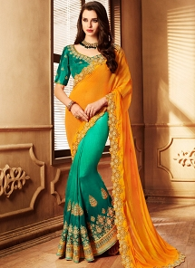 Tempting Orange & Rama Green Fancy Silk Satin Half n Half Saree - 4093
