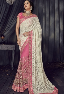 Pink Net Half And Half Designer Saree - 4501