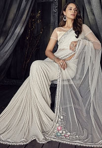 Off White Net Designer Party Wear Saree - 4504