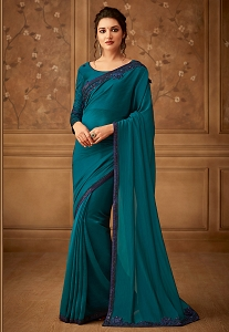 Blue Silk Resham Embroidered Designer Saree - 505