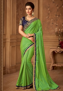 Green & Blue Magestic Silk Embroidered Designer Saree - 510