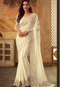 White Art Silk Party Wear Saree - 5102