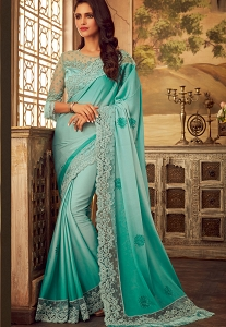 Sky Blue Art Silk Party Wear Saree - 5103