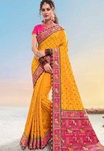 Orange & Pink Satin Designer Wedding Saree - 5401