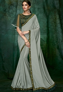Light Grey Satin Silk Designer Saree - 5403