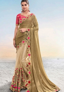 Beige & Pink Net Embroidered Wedding Saree - 5404