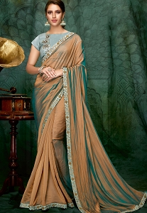 Chicku Blue Dual tone Silk Georgette Designer Saree - 5407