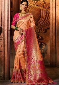 Peach & Pink Pure Viscose Embroidered Silk Saree - 5609