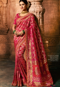 Rani Pink Pure Viscose Embroidered Silk Saree - 5612