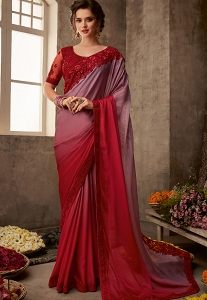 Maroon & Mauve Art Silk Embroidered Bordered Saree - 601
