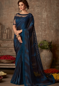 Blue & Black Art Silk Embroidered Bordered Saree - 604
