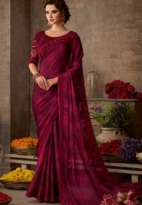 Wine Art Silk Embroidered Bordered Saree - 611