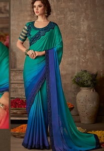 Blue & Green Silk Chiffon Embroidered Bordered Saree - 612