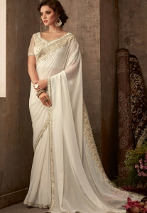 White Art Silk Embroidered Bordered Saree - 617