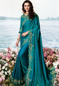 Blue Satin Silk Heavy Embroidered Saree - 6202