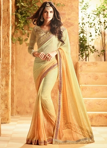 Delightful Light Green Georgette Designer Saree