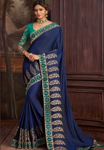 Dark Blue Silk Embroidered Party Wear Saree - 9105