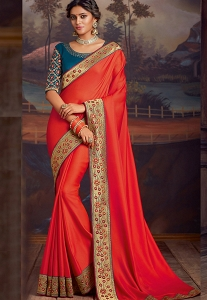 Dark Orange & Blue Silk Embroidered Party Wear Saree - 9111