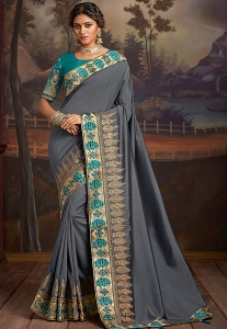 Grey & Blue Silk Embroidered Party Wear Saree - 9115