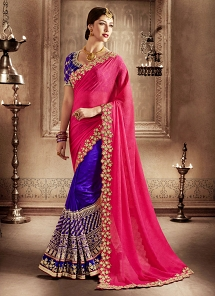 Gleaming Patch Border Work Hot Pink And Purple Designer Half N Half Saree